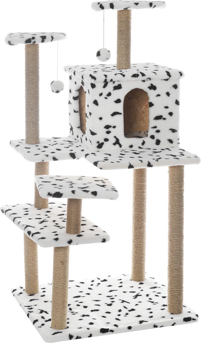 Игровой комплекс для кошек Меридиан Семейный, цвет: белый, черный, бежевый, 70 х 65 х 150 см0120710Игровой комплекс для кошек Меридиан Семейный выполнен из высококачественного ДВП и ДСП и обтянут искусственным мехом. Изделие предназначено для кошек. Ваш домашний питомец будет с удовольствием точить когти о специальные столбики, изготовленные из джута. А отдохнуть он сможет либо на полках, либо в домике. Сверху имеются 2 подвесные игрушки, которые привлекут внимание кошки к когтеточке.Общий размер: 70 х 65 х 150 см.Размер полок: 31 х 31 см, 26 х 26 см (2 полки), 59 х 24 см.Размер домика: 41 х 33 х 35 см.