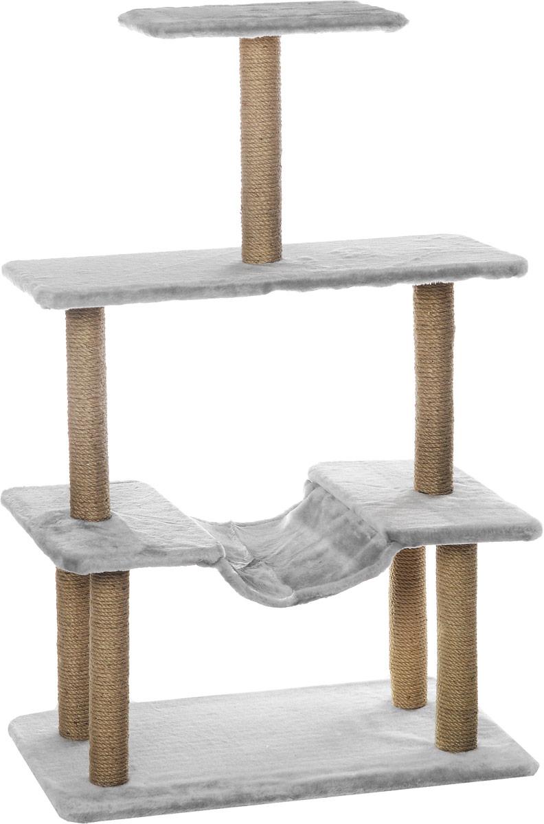 Когтеточка Меридиан, с гамаком, цвет: светло-серый, бежевый, 81 х 41 х 130 смК513ССКогтеточка Меридиан поможет сохранить мебель и ковры в доме от когтей вашего любимца, стремящегося удовлетворить свою естественную потребность точить когти. Когтеточка изготовлена из ДВП и ДСП и обтянута искусственным мехом. Товар продуман в мельчайших деталях и, несомненно, понравится вашей кошке. Ваш питомец может стачивать когти о столбики, выполненные из джута. А отдохнуть он сможет на одной из площадок или на гамаке. Всем кошкам необходимо стачивать когти. Когтеточка - один из самых необходимых аксессуаров для кошки. Для приучения к когтеточке можно натереть ее сухой валерьянкой или кошачьей мятой. Когтеточка поможет вашему любимцу стачивать когти и при этом не портить вашу мебель. Общий размер когтеточки: 81 х 41 х 130 см. Размер полок: 81 х 31 см, 41 х 27 см.