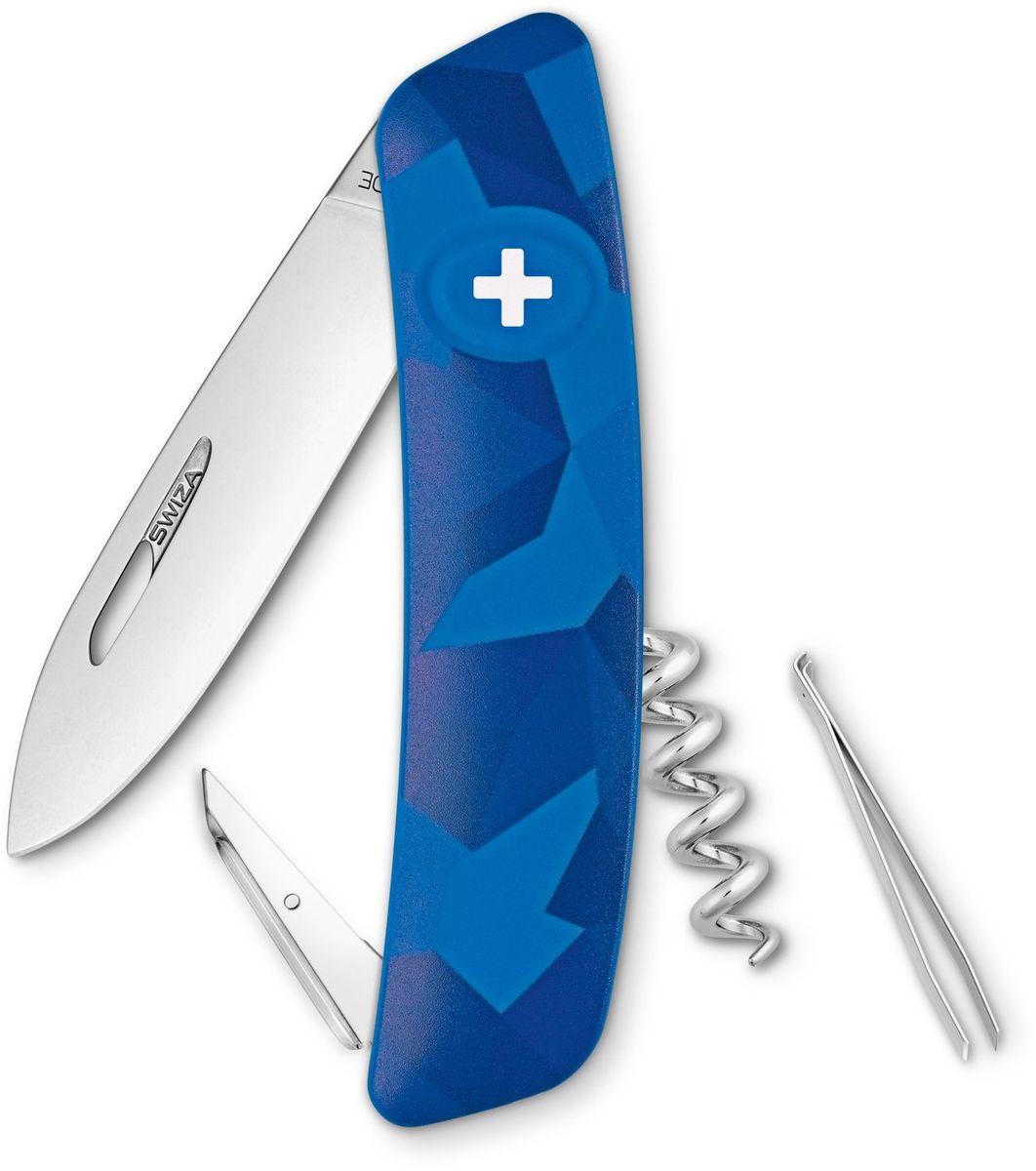 Нож швейцарский SWIZA C01, цвет: синий, длина клинка 7,5 смKNI.0010.2030Швейцарский нож (SWIZA С01) с его революционной формой и безопасной рукояткой, легко раскладываемой ручкой - самый удобный и простой в использовании швейцарский нож на все времена. Эргономично изогнутая форма ножа обеспечивает более легкий доступ к инструментам, а пазы позволяют легко их открывать, как левой, так и правой рукой. Пожизненная гаратния на ножи SWIZA обеспечивают долговременное использование 1. нож перочинный , 2. штопор, 3. ример/дырокол 4. шило, 5. безопасная блокировка лезвий, 6. пинцет