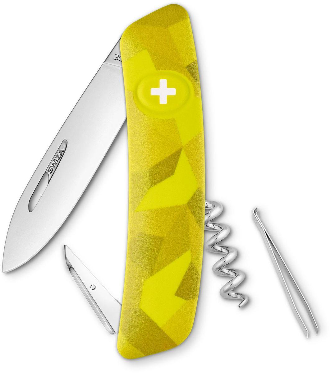 Нож швейцарский SWIZA C01, цвет: желтый, длина клинка 7,5 смKNI.0010.2080Швейцарский нож (SWIZA С01) с его революционной формой и безопасной рукояткой, легко раскладываемой ручкой - самый удобный и простой в использовании швейцарский нож на все времена. Эргономично изогнутая форма ножа обеспечивает более легкий доступ к инструментам, а пазы позволяют легко их открывать, как левой, так и правой рукой. Пожизненная гаратния на ножи SWIZA обеспечивают долговременное использование 1. нож перочинный , 2. штопор, 3. ример/дырокол 4. шило, 5. безопасная блокировка лезвий, 6. пинцет