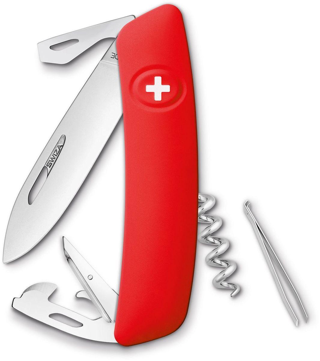 Нож швейцарский SWIZA D03, цвет: красный, длина клинка 7,5 смKNI.0030.1000Швейцарский нож (SWIZA D03) с его революционной формой и безопасной рукояткой, легко раскладываемой ручкой - самый удобный и простой в использовании швейцарский нож на все времена. Эргономично изогнутая форма ножа обеспечивает более легкий доступ к инструментам, а пазы позволяют легко их открывать, как левой, так и правой рукой. 1. нож перочинный, 2.Штопор, 3. ример/дырокол 4. шило, 5. безопасная блокировка лезвий, 6. пинцет 7. консервный нож, 8 Wire Bender (для проволоки), 9 Отвертка №1, 10. Отвертка №3, 11. Открывалка для бутылок