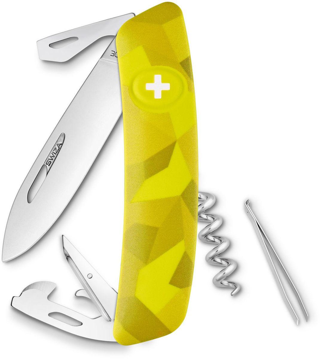 Нож швейцарский SWIZA С03, цвет: желтый, длина клинка 7,5 смKNI.0030.2080Швейцарский нож (SWIZA С03) с его революционной формой и безопасной рукояткой, легко раскладываемой ручкой - самый удобный и простой в использовании швейцарский нож на все времена. Эргономично изогнутая форма ножа обеспечивает более легкий доступ к инструментам, а пазы позволяют легко их открывать, как левой, так и правой рукой. 1. нож перочинный, 2.Штопор, 3. ример/дырокол 4. шило, 5. безопасная блокировка лезвий, 6. пинцет 7. консервный нож, 8 Wire Bender (для проволоки), 9 Отвертка №1, 10. Отвертка №3, 11. Открывалка для бутылок