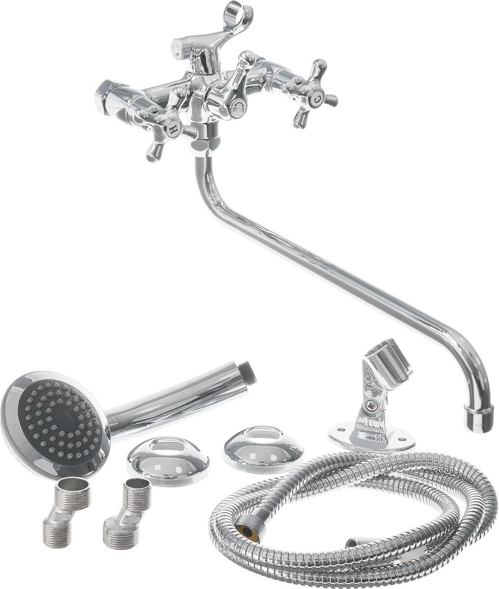 Смеситель для ванны и душа Smartsant Смарт-Кросс, цвет: хромSM110002AAДвуручковый смеситель Smartsant Смарт-Кросс с керамическими кран-буксами (угол поворота 180°) выполнен из высококачественной латуни. Смеситель оснащен аэратором Neoperl Cascade для равномерного распределения струи воды. Стойкое хромированное покрытие обеспечивает изделию долгий срок эксплуатации. Смеситель оснащен защитой от ожога. В комплекте гибкая подводка G 1/2. Излив: 35 см. Диаметр лейки: 9,5 см.