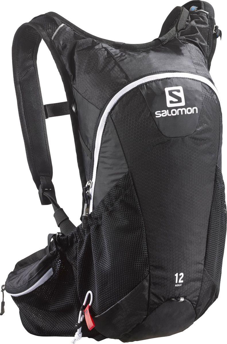 Рюкзак спортивный Salomon Agile 12 Set, цвет: черный. L37375100H009Рюкзак Salomon Agile 12 Set выполнен из высококачественного полиамида. Рюкзак имеет одно вместительное отделение на застежке-молнии. Рюкзак оснащен мягкими удобными лямками, длина которых регулируется с помощью пряжек. На внешней стороне расположены два открытых кармана-сетки. Предназначенный в первую очередь для трейл-раннинга, этот легкий эластичный рюкзак объемом 12 литров очень удобен и отлично сбалансирован для забегов на средние и длинные дистанции. Подойдет также любителям горного велосипеда и других активных видов спорта.