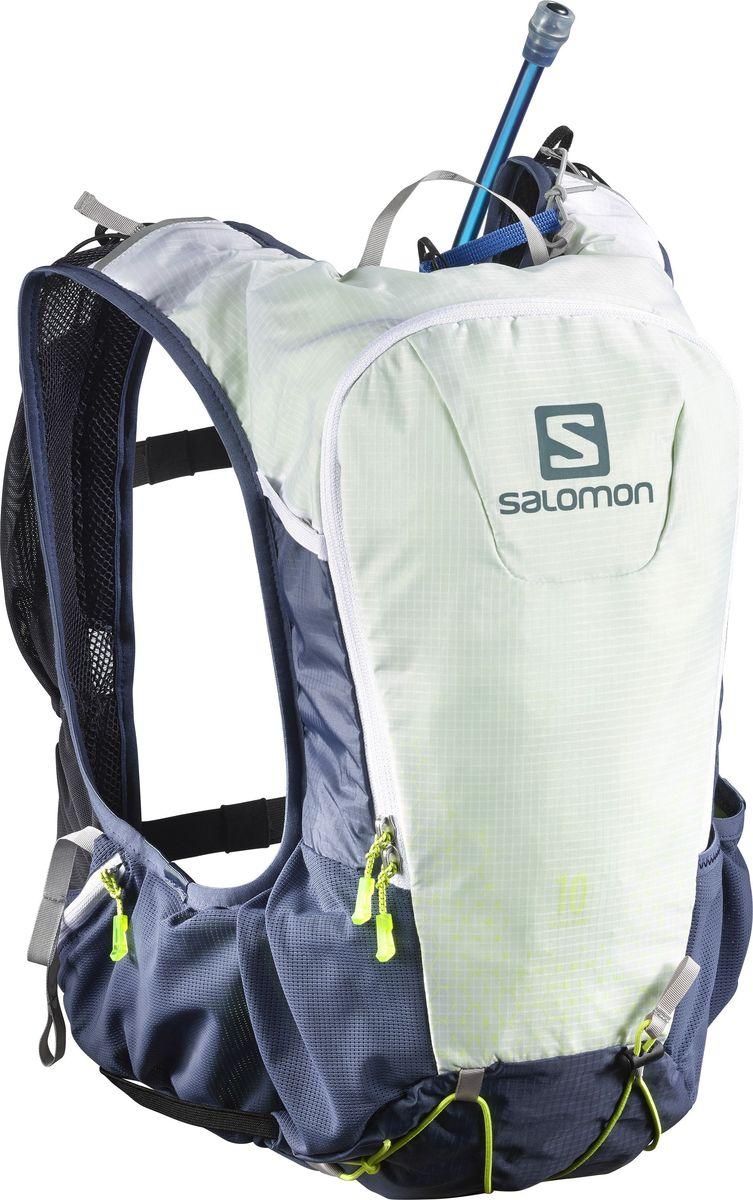 Рюкзак спортивный с гидросистемой Salomon Skin Pro 10 Set, цвет: синий. L3927560029868/43Skin Pro 10 Set - это легкий, плотно прилегающий рюкзак универсальной формы. Рюкзак имеет одно вместительное отделение и закрывается на застежку-молнию. Рюкзак оснащен мягкими удобными лямками, длина которых регулируется с помощью пряжек. Изделие дополнено удобной ручкой для переноски или подвешивания. Подходит для любителей бега, туризма и велоспорта. Эластичная конструкция Sensifit от Salomon и новая регулируемая система ремешков улучшают устойчивость и позволяют адаптировать рюкзак под любую комплекцию. Универсальная и устойчивая система для переноски снаряжения с удобным креплениями для палок, ледоруба, шлема и коврика.