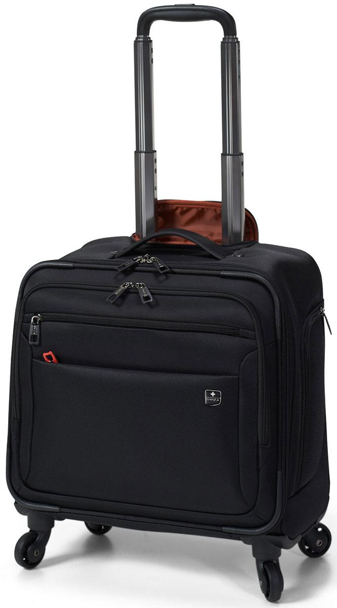 Чемодан SWIZA Cassus, цвет: черный, 44 х 40 х 22 см16-014 - 46CM Этот классический, многофункциональный чемодан на колесах разработан для профессионального повседневного использования, деловых поездок или путешествий в выходные. Чемодан CASSUS имеет удобный наружный карман для дорожных документов и устройств, а также два основных отделения, включающие карманы с надежной подкладкой для ноутбука или планшета, он располагает достаточным пространством для бумажных документов и одежды, необходимой для непродолжительных поездок
