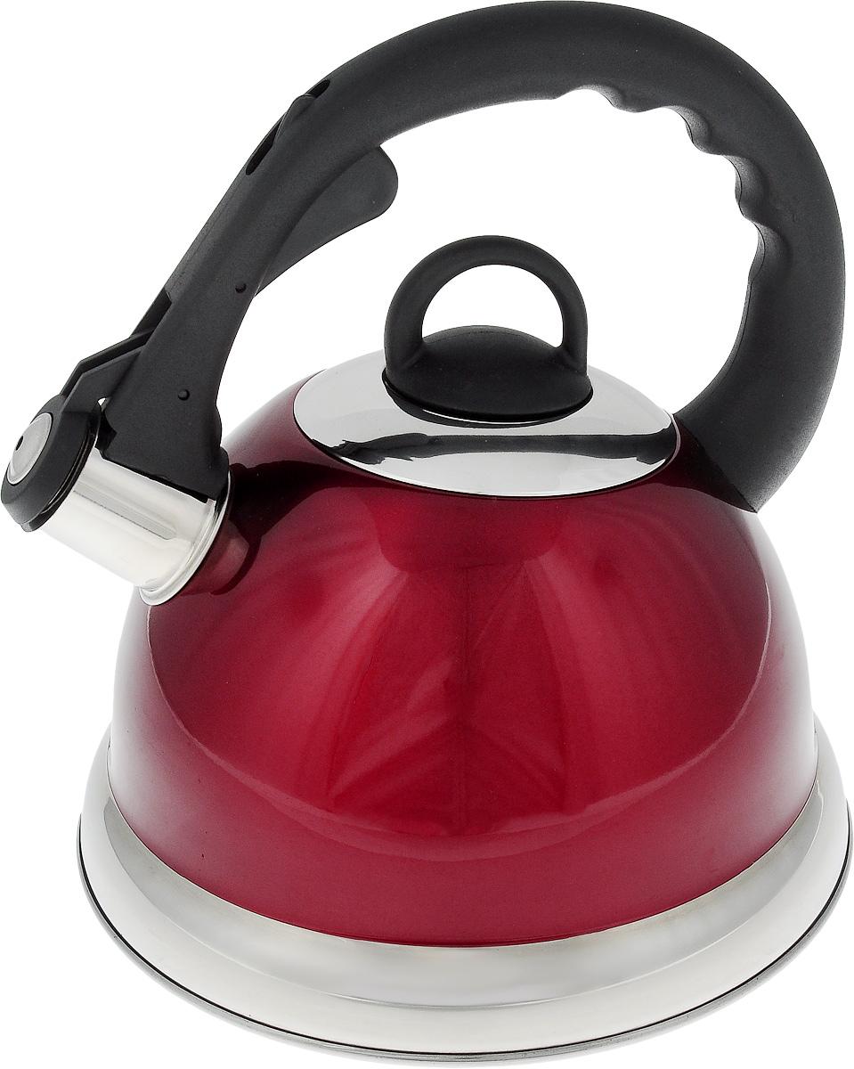 Чайник Mayer & Boch, со свистком, цвет: красный, 2,8 л. 2267522675_красныйЧайник со свистком Mayer & Boch изготовлен из высококачественной нержавеющей стали. Капсульное дно обеспечивает равномерный и быстрый нагрев, поэтому вода закипает гораздо быстрее, чем в обычных чайниках. Носик чайника оснащен откидным свистком, звуковой сигнал которого подскажет, когда закипит вода. Свисток открывается нажатием кнопки на ручке, сделанной из пластика. Чайник Mayer & Boch - качественное исполнение и стильное решение для вашей кухни. Подходит для всех типов плит, включая индукционные. Можно мыть в посудомоечной машине. Высота чайника (без учета ручки и крышки): 13,5 см. Высота чайника (с учетом ручки и крышки): 24 см. Диаметр чайника (по верхнему краю): 10,5 см. Диаметр основания: 22 см. Диаметр индукционного дна: 16 см.