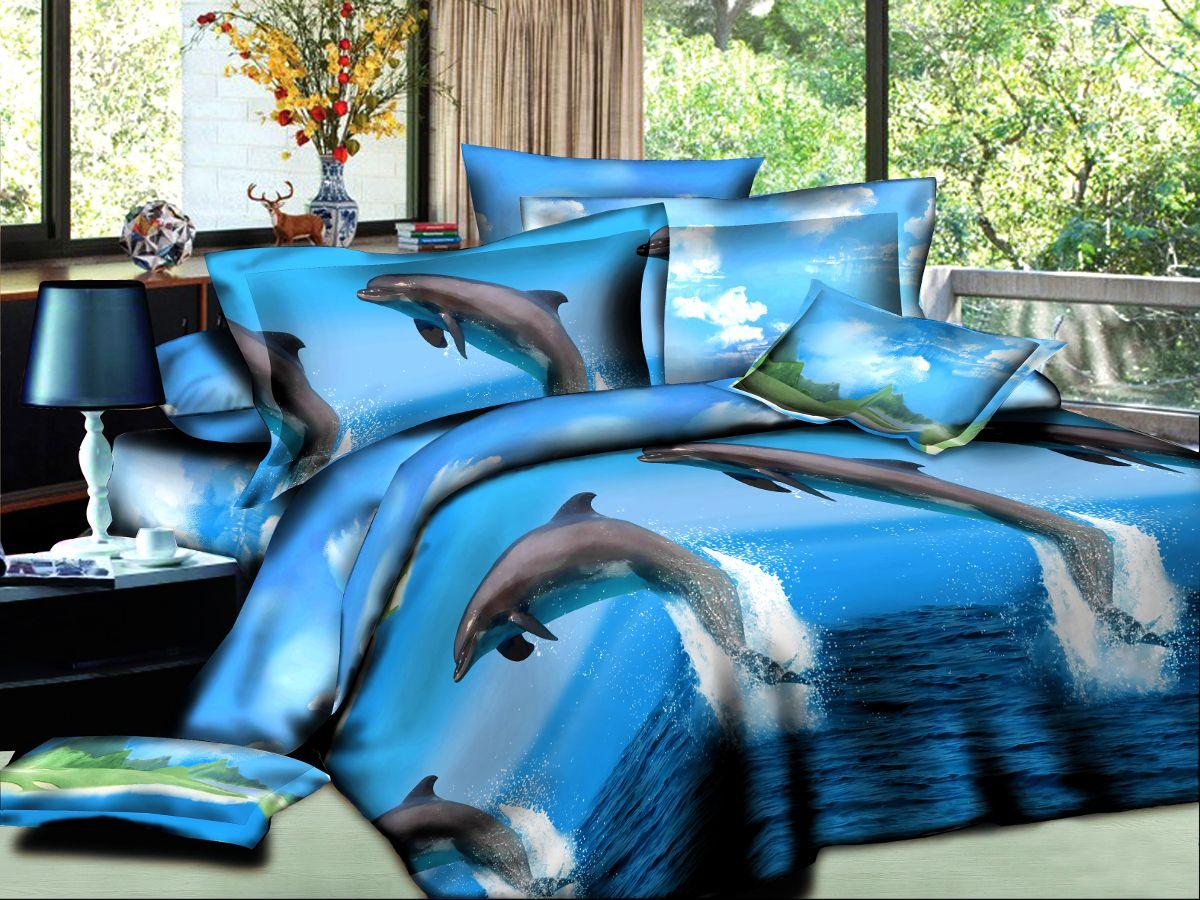 Комплект белья Cleo Дельфины, семейный, наволочки50х70, 70х7041/084-PSКомплект постельного белья из полисатина Cleo - это шелковая прохлада в любое время года! Тонкое, средней плотности, с шелковистой поверхностью и приятным блеском постельное белье устойчиво к износу, не выгорает, не линяет, рассчитано на многократные стирки. Двойная скрутка волокон позволяет получать довольно плотный, прочный на разрыв материал. Легко отстирывается, быстро сохнет и самой важно для хозяек - не мнется! Комплект состоит из двух пододеяльников, простыни и четырех наволочек.