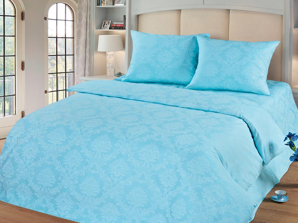 Комплект белья Cleo Аквамарин, 1,5-спальный, наволочки 70х70, цвет: голубой10503Комплект постельного белья Cleo выполнен из поплина в романтическом стиле, визуально текстура нанесения рисунка напоминает жаккард. Поплин - 100% хлопок, ему характерен репсовый эффект, который образуется методом чередования толстых и тонких нитей, в результате на поверхности появляются рубчики, создавая неравномерность полотна. Постельное белье из поплина обладает рядом преимуществ: мягкое и шелковистое, натуральное, экологически чистое, гипоаллергенное, прочное, не деформируется, не растягивается и держит форму, пропускает воду и воздух, прекрасно стирается в прохладной воде. Комплект состоит из пододеяльника, простыни и двух наволочек.