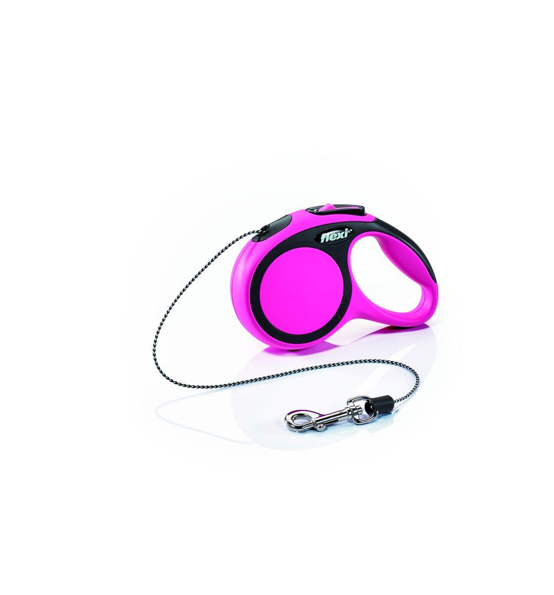 Поводок-рулетка Flexi New Comfort XS, трос, для собак весом до 8 кг, цвет: черный, розовый, 3 м28711Тросовый поводок-рулетка обеспечивает каждой собаке свободу движения, что идет на пользу здоровью и радует Вашего четвероногого друга. Рулетка очень проста в использовании. Оснащена кнопками кратковременной и постоянной фиксации. Прочный корпус, хромированная застежка и светоотражающие элементы. Длина 3 м. Для собак весом до 8 кг