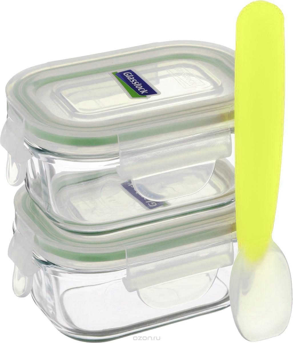 Набор контейнеров Glasslock YumYum, с ложкой, 3 предметаGL-268Набор Glasslock YumYum состоит из двух прямоугольных контейнеров и силиконовой ложки, которые идеально подходят для детского питания. Изделия выполнены из экологически чистого закаленного ударопрочного стекла и оснащены пластиковыми крышками, которые закрываются на защелки. Силиконовый уплотнитель позволяет крышкам плотнее закрываться, создавая 100% герметичность и воздухонепроницаемость. В таких контейнерах пища дольше останется свежей и вкусной. Размер контейнеров идеально подходит для хранения детского питания. Можно мыть в посудомоечной машине и использовать в микроволновой печи. Подходят для хранения пищи в холодильнике и морозильной камере. Не использовать в духовке. Объем контейнеров: 150 мл. Внутренний размер контейнеров: 8,5 х 5,5 см. Высота контейнеров (с крышкой): 5 см. Длина ложки: 14,5 см. Размер рабочей части: 4 х 2,5 см.
