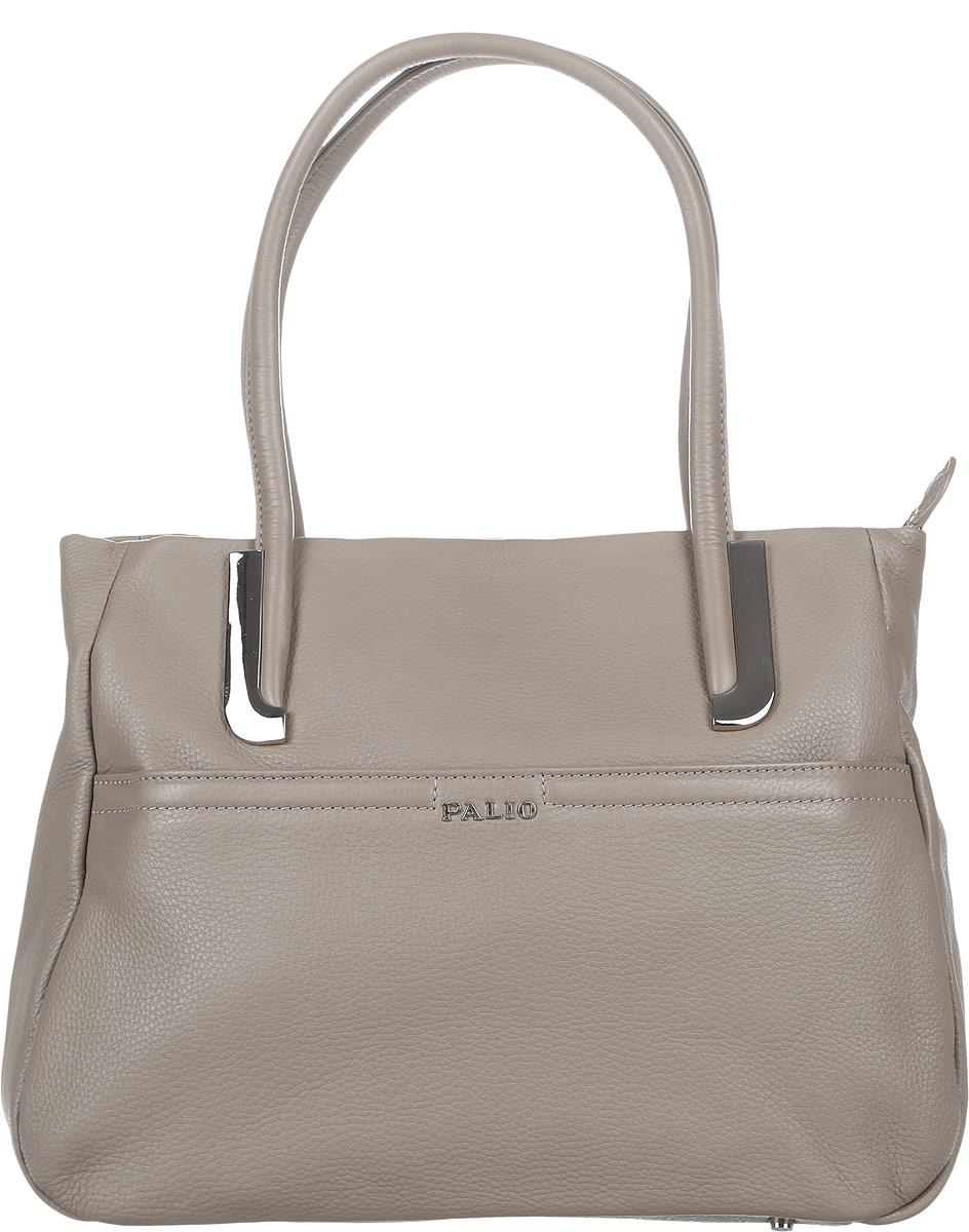 Сумка женская Palio, цвет: серо-коричневый. 11840A-C211840A-C2Стильная сумка Palio выполнена из натуральной кожи с зернистой фактурой, оформлена металлической фурнитурой с символикой бренда. Сумка содержит одно отделение, которое закрывается на застежку-молнию. Внутри изделия расположен врезной карман на молнии и два накладных кармана для телефона и мелочей, карман-средник на молнии. Снаружи, в лицевой стенке сумки, размещен накладной карман на молнии. В тыльной стенке сумки размещен врезной карман на молнии. Изделие оснащено двумя практичными ручками, которые позволят носить сумку, как в руках, так и на плече. Ручки сумки дополнены фурнитурой из металла. Дно сумки оснащено металлическими ножками, которые защитят изделие от преждевременных повреждений. Оригинальный аксессуар позволит вам завершить образ и быть неотразимой.