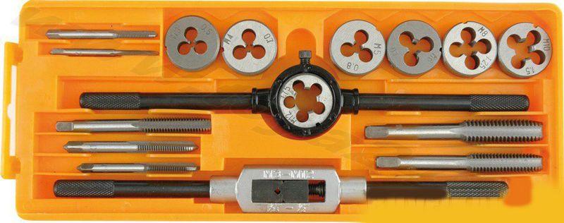 Набор плашек и метчиков Vorel, 16шт24295Набор плашек и метчиков VOREL, размеры M3x0,5; M4x0,7; M5x0,8; M6x1,0; M8x1,25; M10x1,5; M12x1,75.