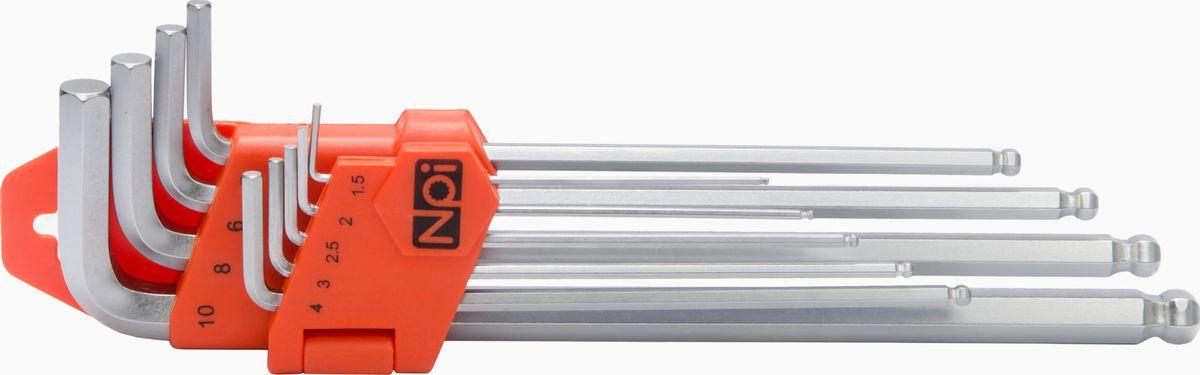 Набор ключей шестигранных NPI, 1.5-10 мм, 9шт45515Набор ключей шестигранных NPI 1.5-10мм 9шт. Набор 9 штук. Наконечники шаровидные, рабочий угол 30 градусов. Наконечники шестигранные: 1.5, 2, 2.5, 3, 4, 5, 6, 8, 10 мм. Изготовлены из высококачественной стали SNCM+V (хром-молиблен-ванадиевая). Соответствуют европейскому стандарту ISO 2936, стандарту DIN 911.