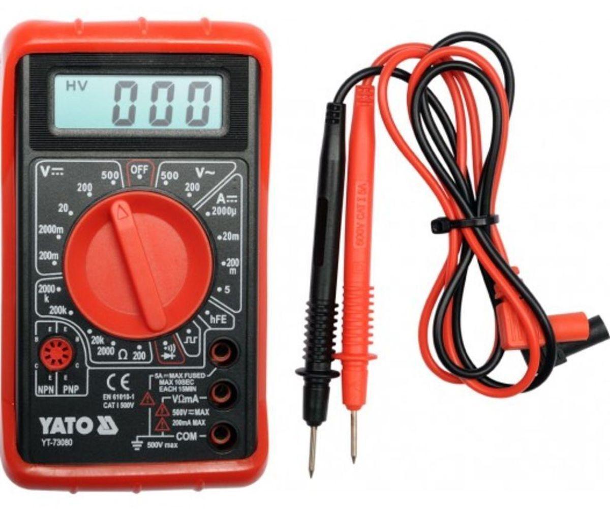 Мультиметр цифровой Yato, базовыйYT-73080Мультиметр цифровой YATO базовый. Измерение напряжения переменного и постоянного тока 0-500 В; измерение напряжения 2000 k?.