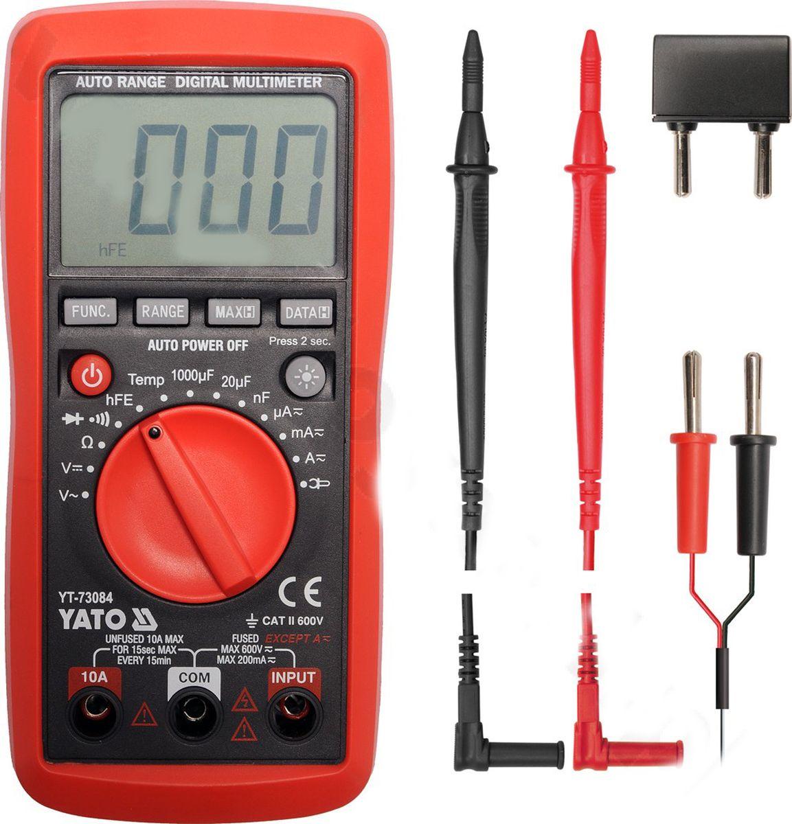 Мультиметр цифровой YatoYT-73084Мультиметр цифровой YATO. Измерение напряжения переменного и постоянного тока 0-600 В; измерение напряжения 0-20 M?; измерение температуры -20-1000 С/