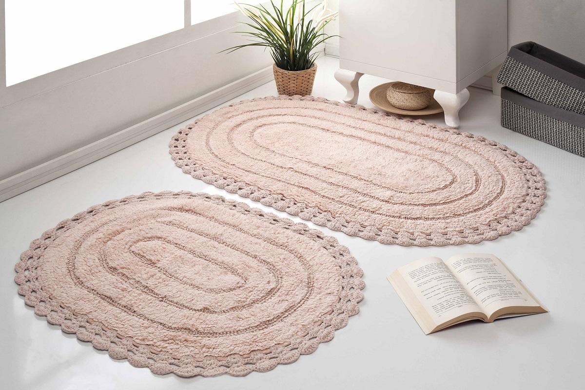 Набор ковриков для ванной Karna Modalin. Yana, цвет: пудровый, 2 шт5026/CHAR004