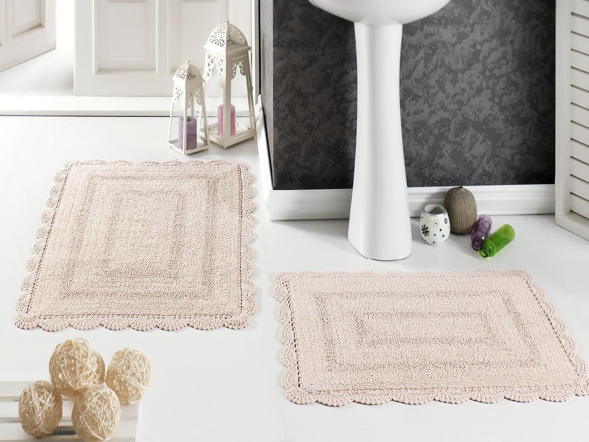 Набор ковриков для ванной Karna Modalin. Evora, цвет: абрикосовый, 2 шт5088/CHAR001