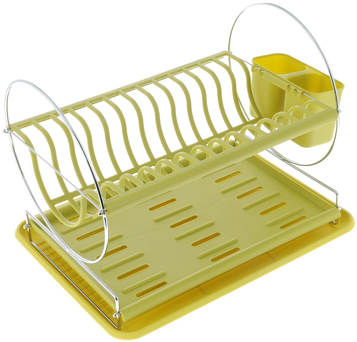 Сушилка для посуды Mayer & Boch, цвет: зеленый, 43 х 33 х 32,5 см23237_зеленыйСушилка для посуды Mayer & Boch отлично подходит для хранения кухонных принадлежностей и столовых приборов. Сушилка содержит подставку для тарелок, двойную подставку для столовых приборов и место для кружек и мисок. Изделие выполнено из высококачественного полипропилена и хромированного металла. Поддон для воды поможет сохранить кухню в чистоте. Элегантный, цветной дизайн прекрасно сочетается с интерьером любой кухни. Размеры нижнего поддона: 43 х 32,5 х 2 см. Размеры верхнего поддона: 38 х 27 х 1 см. Размеры подставки для тарелок: 38 х 26,5 х 10 см. Размеры подставки для столовых приборов (1 отделение): 7 х 7 х 9 см.