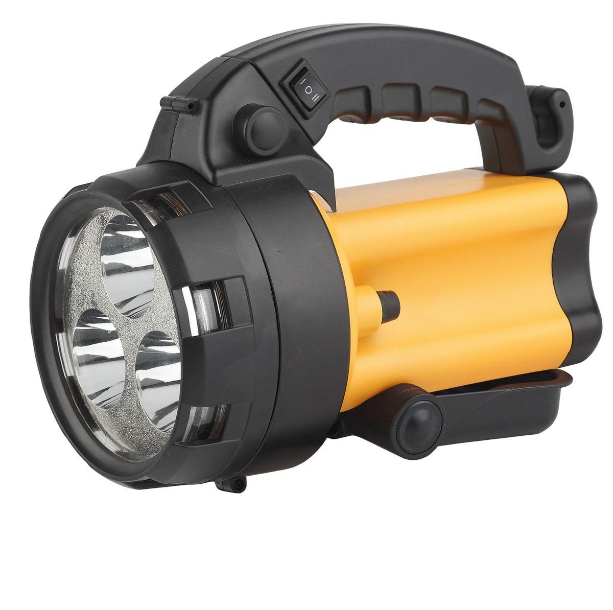 Фонарь ручной ЭРА, 3x1Вт LED SMD, аккумулятор 4В4.5Ач, ЗУ 220V+12VFA3WАккумуляторный светодиодный прожектор: 3x1Вт белые светодиоды (два режима работы 50% и 100% яркости) сигнальный красный светильник в задней части фонаря Аккумулятор 4V 4.5Ah (AC3, DT4045) подзарядка от сети 220V и бортовой сети автомобиля 12V ремень для переноски на плече.
