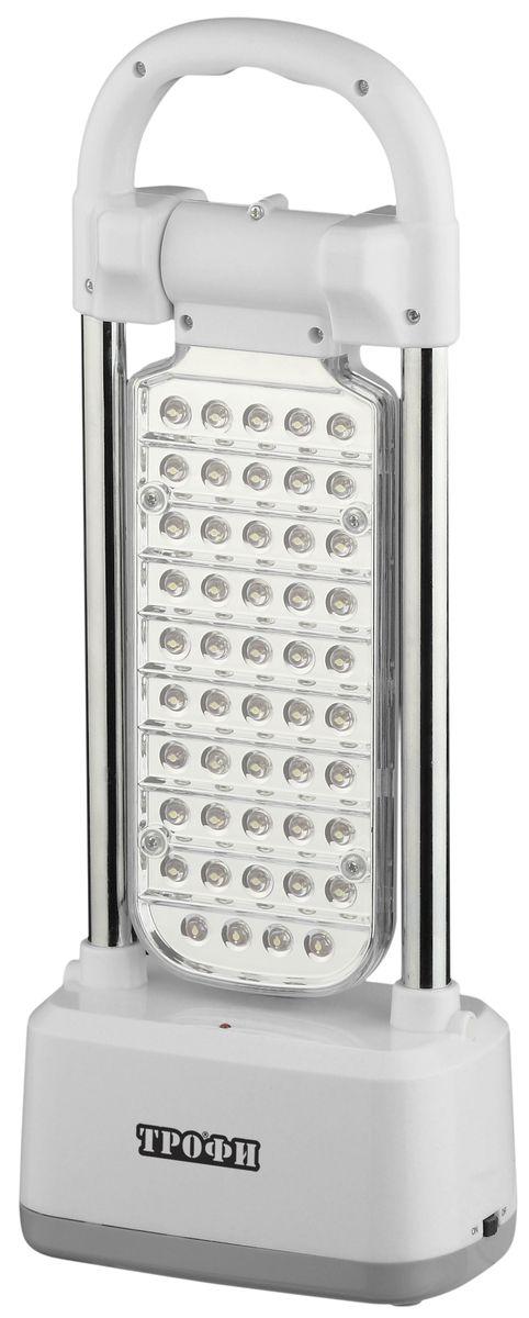Фонарь кемпинговый Трофи, 49xLED, аккумулятор 4V3Ah, ЗУ 220VTK49Аккумуляторный кемпинговый светодиодный фонарь: 49 белых LED (диммер) поворотный LED-модуль Аккумулятор 4V 3Ah подзарядка от сети 220V