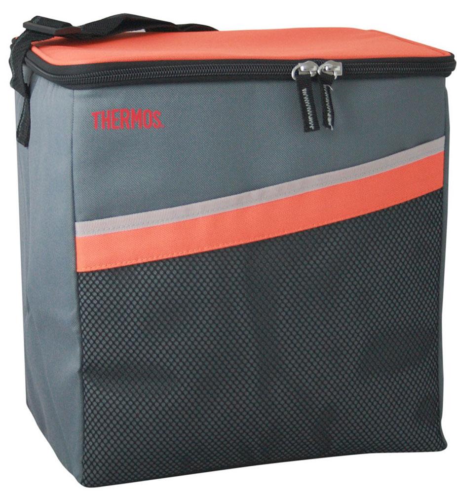 Термосумка Thermos Classic 24 Can Coole, цвет: оранжевый, серый, 17 л19201Термосумка складная Classic 24 Can Coole отличная альтернатива твердому пластиковому термобоксу. Фронтальные стенки и крышка выполнены из твердого пластика. Боковые стенки и дно съемные, благодаря чему изделие полностью складывается. Объем: 17 л.