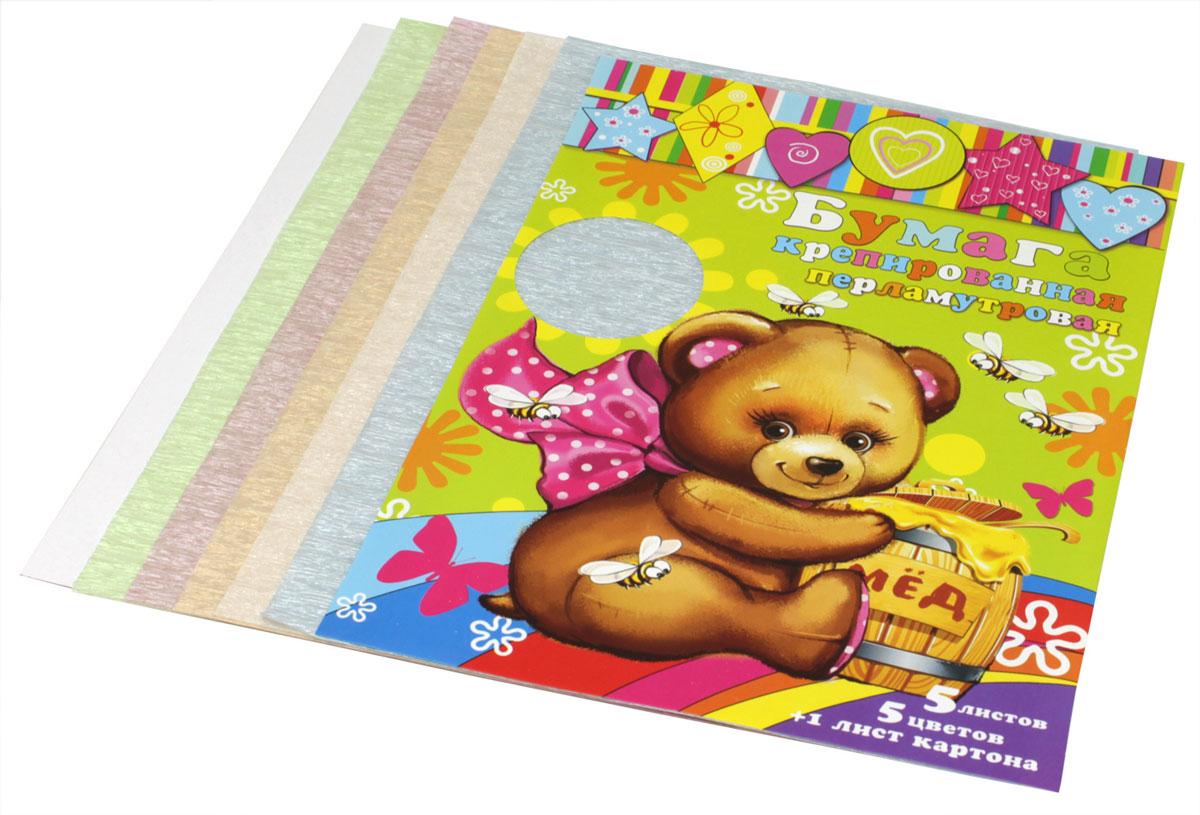 Феникс+ Цветная бумага крепированная перламутровая 5 листов + лист картона 31378