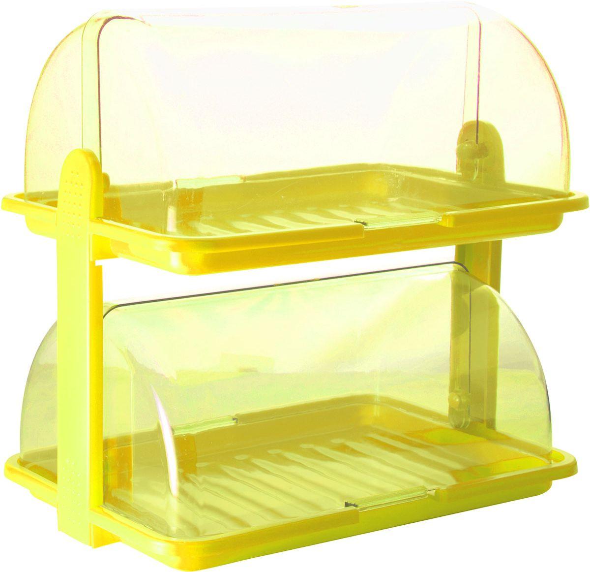 Хлебница Plastic Centre, 2-ярусная, цвет: желтый, прозрачный, 38,5 х 26 х 37 смПЦ1671ЛМНУникальная двухъярусная хлебница для любителей выпечки и свежего хлеба. Она сохранит хлеб свежим длительное время. Благодаря двум раздельным секциям можно хранить сладкую выпечку и хлеб в разных отделениях.