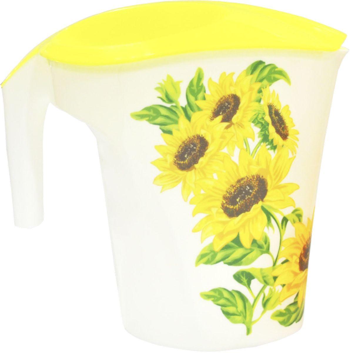 Кувшин Plastic Centre Подсолнухи, цвет: желтый, 3 лVT-1520(SR)Яркие, солнечные, летние – все это про наши новые кувшины с декором. Кувшин идеально подойдет для дачи или загородного дома. В нем прекрасно подавать на стол прохладительные напитки, воду и соки.