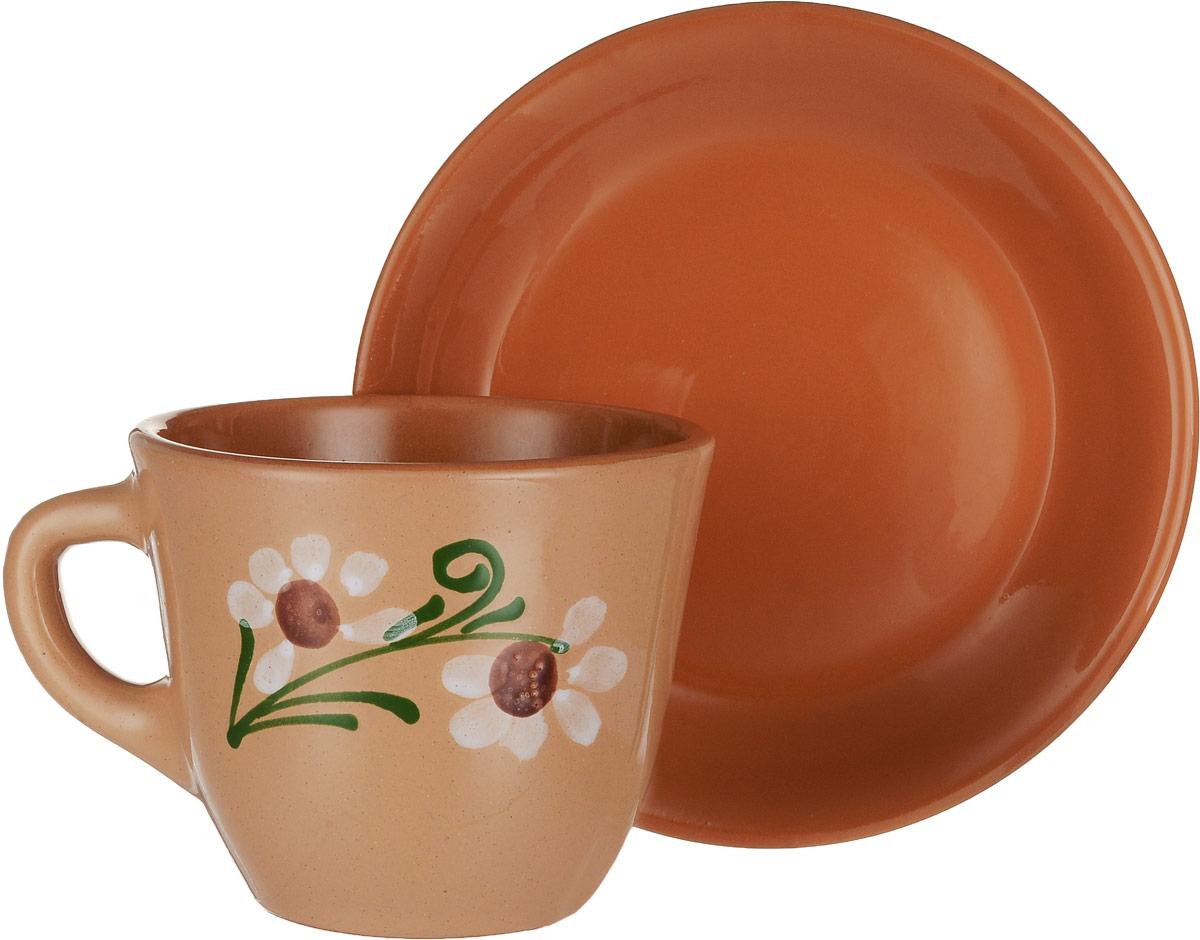 Чайная пара Борисовская керамика Cтандарт, 2 предметаОБЧ00000637_светло-коричневыйЧайная пара Борисовская керамика Cтандарт состоит из чашки и блюдца, изготовленных из высококачественной керамики. Яркий дизайн изделий, несомненно, придется вам по вкусу. Чайная пара Борисовская керамика Cтандарт украсит ваш кухонный стол, а также станет замечательным подарком к любому празднику. Диаметр чашки (по верхнему краю): 10 см. Высота чашки: 8,5 см. Диаметр блюдца (по верхнему краю): 15,5 см. Высота блюдца: 2,5 см. Объем чашки: 300 мл