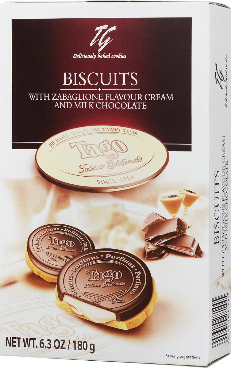 Tago Печенье Кардиналки забайоне в шоколаде, 180 г0120710Печенье Tago Кардиналки забайоне в шоколаде покорят любителей качественных сладостей. Печенье круглой формы покрыто шоколадным слоем с кремовой начинкой внутри него.Уважаемые клиенты! Обращаем ваше внимание, что полный перечень состава продукта представлен на дополнительном изображении.
