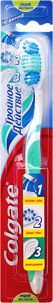 Colgate Зубная щетка Тройное действие, средней жесткостиFCN21589Colgate Тройное действие - зубная щетка средней жесткости. Щетинки всесторонней чистки способствуют бережному очищению зубного налета, возвращая зубам естественную белизну. Поверхность для чистки языка обеспечивает свежее дыхание. Эргономичная рифленая ручка не скользит в ладони, амортизирует давление руки на нежную поверхность десен. Товар сертифицирован. Длина щетки: 19 см. Размер рабочей поверхности: 3,5 см х 1,5 см. Материал: пластик.