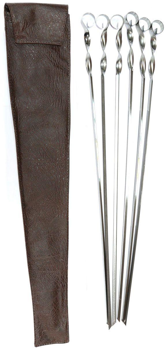 Набор шампуров BG, угловые, длина 560 мм, 6 шт. 2745327453Набор угловых шампуров изготовленных из высококачественной нержавеющей стали. В комплект входит 6 шампуров 560 х 11 х 1 мм.+ чехол из кожзаменителя для хранения. Размер упаковки: 600 х 120 х 20 мм. Вес комплекта с чехлом: 340 г.