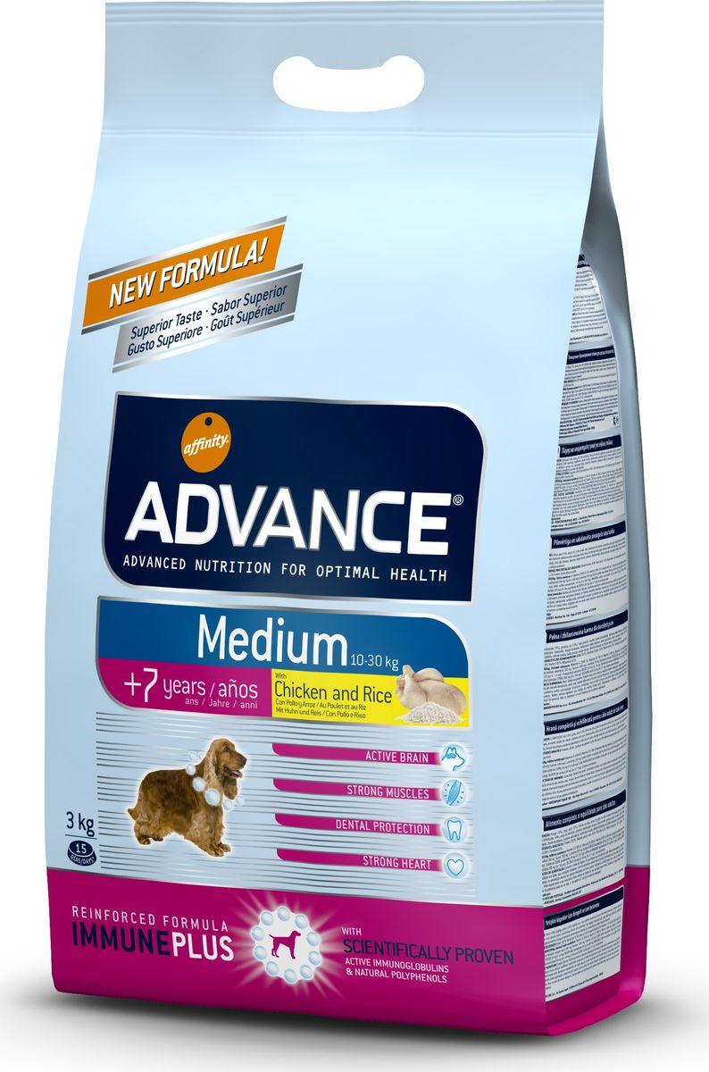 Корму сухой Advance для собак средних пород старше 7 лет Medium Senior, 3 кг. 5533110120710Advance – высококачественный корм супер-премиум класса Испанской компании Affinity Petcare, которая занимает лидирующие места на Европейском и мировом рынках. Корм разработан с учетом всех особенностей развития и жизнедеятельности собак и кошек. В линейке кормов Advance любой хозяин может подобрать необходимое питание в соответствии с возрастом и уникальными особенностями своего животного, а также в случае назначения специалистами ветеринарной диеты. Курица (14%), мука из маиса, пшеница, дегидрированное мясо курицы,рис (10%), мука из пшеницы, маис, гидролизированный белок животного происхождения,кукурузные отруби, свекольный жом, животный жир, дрожжи,яичный порошок, рыбий жир, хлористый калий, плазменный протеин, пирофосфорнокислый натрий, глюкозамин,хондроитинсульфат, природные полифенолы.Affinity Petcare имеет собственную лабораторию, а также сотрудничает со множеством международных исследовательских центров, благодаря чему специалисты постоянно совершенствуют рецептуру и полезные свойства своих кормов.В составе главным источником белка является СВЕЖЕЕ мясо, благодаря которому корм обладает высокими вкусовыми качествами, а также высокой питательной ценностью.
