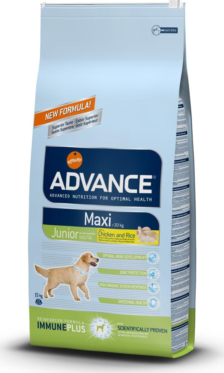 Корму сухой Advance для собак крупных пород 12-24 мес Maxi Junior, 15 кг. 51451913066Advance – высококачественный корм супер-премиум класса Испанской компании Affinity Petcare, которая занимает лидирующие места на Европейском и мировом рынках. Корм разработан с учетом всех особенностей развития и жизнедеятельности собак и кошек. В линейке кормов Advance любой хозяин может подобрать необходимое питание в соответствии с возрастом и уникальными особенностями своего животного, а также в случае назначения специалистами ветеринарной диеты. Курица (17%), рис (15%), маисовый глютен, дегидрированное мясо курицы, пшеница, маис, животный жир, гидролизированный белок животного происхождения, свекольный жом, дегидрированный белок тунца, овсяные волокна, дрожжи,яичный порошок, рыбий жир, хлористый калий, плазменный протеинs, соль,монокальцийфосфат, глюкозамин, хондроитинсульфат, природные полифенолы. Affinity Petcare имеет собственную лабораторию, а также сотрудничает со множеством международных исследовательских центров, благодаря чему специалисты постоянно совершенствуют...