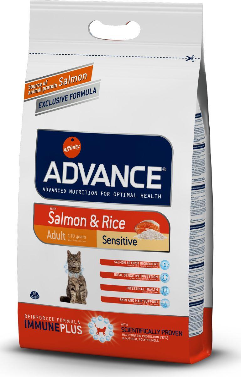 Корму сухой Advance для кошек с чувствительным пищеварением: лосось и рис Adult Salmon Sensitive, 3 кг. 9220730120710Advance – высококачественный корм супер-премиум класса Испанской компании Affinity Petcare, которая занимает лидирующие места на Европейском и мировом рынках. Корм разработан с учетом всех особенностей развития и жизнедеятельности собак и кошек. В линейке кормов Advance любой хозяин может подобрать необходимое питание в соответствии с возрастом и уникальными особенностями своего животного, а также в случае назначения специалистами ветеринарной диеты. Лосось (18%), мука из маиса, рис (15%), дегидрированный белок лосося, пшеница, пшеничный протеин, животный жир, маис, гидролизированный белок, свекольный жом, дрожжи, хлористый калий, инулин, плазменный протеин, монокальцийфосфат, природные полифенолы.Affinity Petcare имеет собственную лабораторию, а также сотрудничает со множеством международных исследовательских центров, благодаря чему специалисты постоянно совершенствуют рецептуру и полезные свойства своих кормов.В составе главным источником белка является СВЕЖЕЕ мясо, благодаря которому корм обладает высокими вкусовыми качествами, а также высокой питательной ценностью.