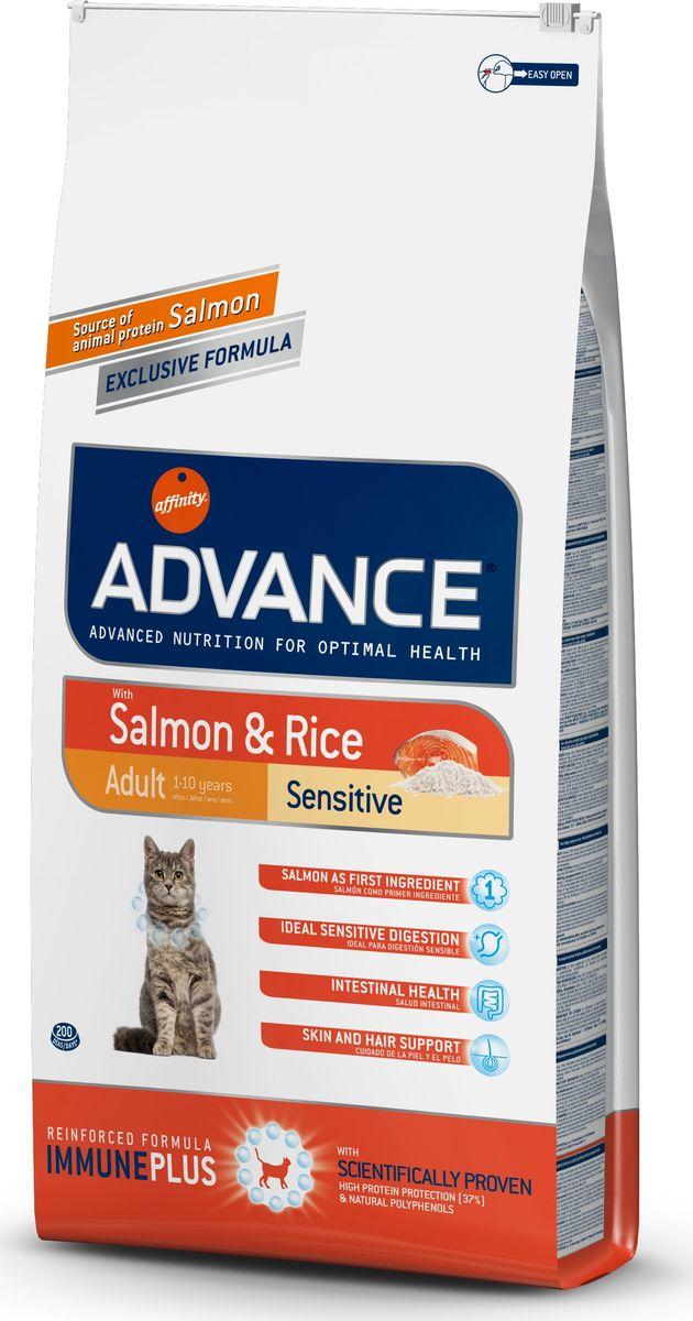 Корму сухой Advance для кошек с чувствительным пищеварением: лосось и рис Adult Salmon Sensitive, 15 кг. 9220740120710Advance – высококачественный корм супер-премиум класса Испанской компании Affinity Petcare, которая занимает лидирующие места на Европейском и мировом рынках. Корм разработан с учетом всех особенностей развития и жизнедеятельности собак и кошек. В линейке кормов Advance любой хозяин может подобрать необходимое питание в соответствии с возрастом и уникальными особенностями своего животного, а также в случае назначения специалистами ветеринарной диеты. Лосось (18%), мука из маиса, рис (15%), дегидрированный белок лосося, пшеница, пшеничный протеин, животный жир, маис, гидролизированный белок, свекольный жом, дрожжи, хлористый калий, инулин, плазменный протеин, монокальцийфосфат, природные полифенолы.Affinity Petcare имеет собственную лабораторию, а также сотрудничает со множеством международных исследовательских центров, благодаря чему специалисты постоянно совершенствуют рецептуру и полезные свойства своих кормов.В составе главным источником белка является СВЕЖЕЕ мясо, благодаря которому корм обладает высокими вкусовыми качествами, а также высокой питательной ценностью.