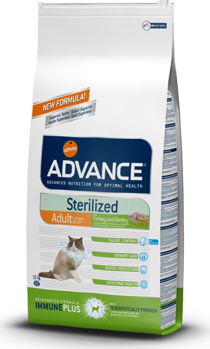 Корму сухой Advance для стерилизованных кошек с индейкой Sterilized Turkey, 15 кг. 5775100120710Advance – высококачественный корм супер-премиум класса Испанской компании Affinity Petcare, которая занимает лидирующие места на Европейском и мировом рынках. Корм разработан с учетом всех особенностей развития и жизнедеятельности собак и кошек. В линейке кормов Advance любой хозяин может подобрать необходимое питание в соответствии с возрастом и уникальными особенностями своего животного, а также в случае назначения специалистами ветеринарной диеты. Индейка (15%), мука из маиса, пшеница, маис, дегидрированный белок курицы, дегидрированный белок свинины, пшеничный глютен, ячмень (8%), волокна гороха, гидролизированный белок животного происхождения, дрожжи, животный жир, соль, инулин,рыбий жир,яичный порошок, хлористый калий, плазменный протеинs,хлористый калий, глюкозамин, хондроитинсульфат, природные полифенолы.Affinity Petcare имеет собственную лабораторию, а также сотрудничает со множеством международных исследовательских центров, благодаря чему специалисты постоянно совершенствуют рецептуру и полезные свойства своих кормов.В составе главным источником белка является СВЕЖЕЕ мясо, благодаря которому корм обладает высокими вкусовыми качествами, а также высокой питательной ценностью.