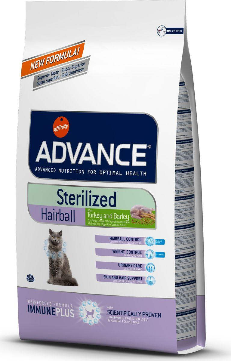 Корму сухой Advance для вывода шерсти у стерилизованных кошек Sterilized Hairball, 1,5 кг. 92186420734Advance – высококачественный корм супер-премиум класса Испанской компании Affinity Petcare, которая занимает лидирующие места на Европейском и мировом рынках. Корм разработан с учетом всех особенностей развития и жизнедеятельности собак и кошек. В линейке кормов Advance любой хозяин может подобрать необходимое питание в соответствии с возрастом и уникальными особенностями своего животного, а также в случае назначения специалистами ветеринарной диеты. Индейка (15%), маис, маисовый протеин, дегидрированный белок свинины, дегидрированное мясо курицы, ячмень (8%), гидролизированный белок животного происхождения, пшеничный протеин, растительные волокна, свекольный жом, животный жир, экстракт солода, пшеница, соль, инулин, рыбий жир, хлористый калий, плазменный протеинs, природные полифенолы. Affinity Petcare имеет собственную лабораторию, а также сотрудничает со множеством международных исследовательских центров, благодаря чему специалисты постоянно совершенствуют рецептуру и полезные...