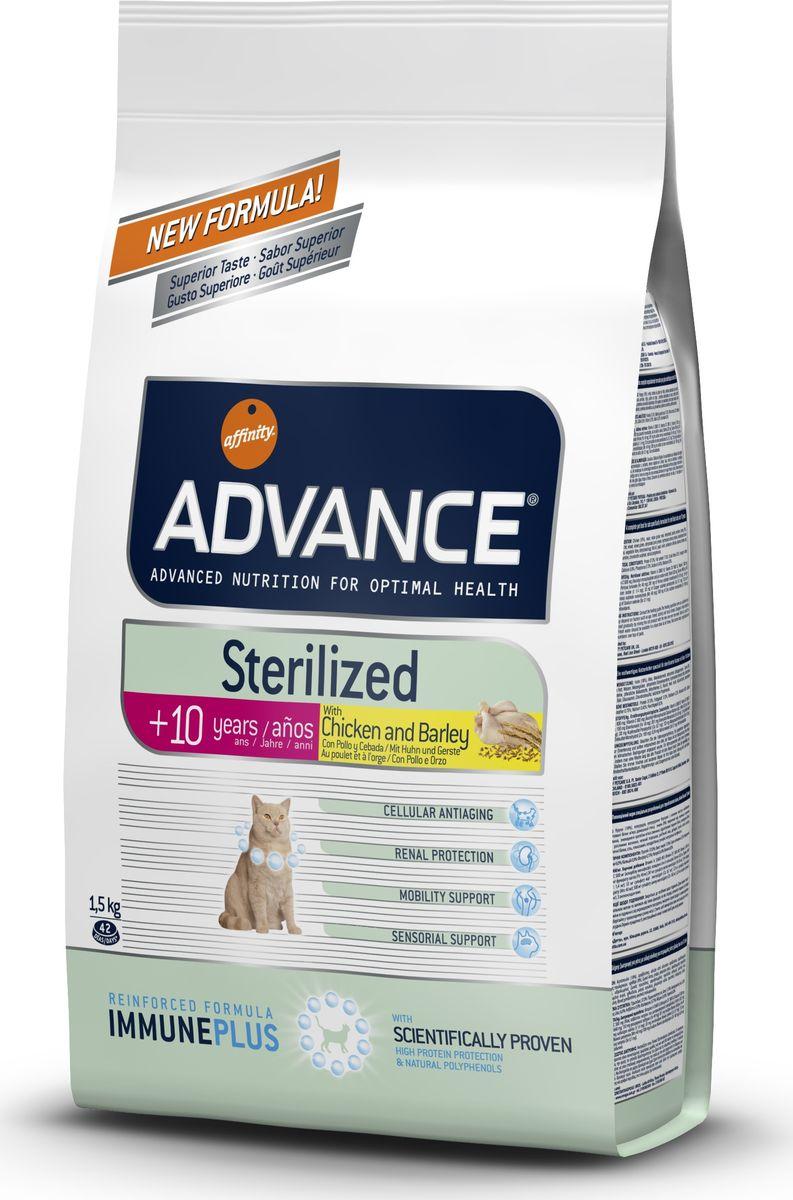Корму сухой Advance для стерилизованных кошек старше 7 лет Sterilized 7 Years Senior, 1,5 кг. 50067920737Advance – высококачественный корм супер-премиум класса Испанской компании Affinity Petcare, которая занимает лидирующие места на Европейском и мировом рынках. Корм разработан с учетом всех особенностей развития и жизнедеятельности собак и кошек. В линейке кормов Advance любой хозяин может подобрать необходимое питание в соответствии с возрастом и уникальными особенностями своего животного, а также в случае назначения специалистами ветеринарной диеты. Курица (18%), маис, мука из маиса, дегидрированное мясо курицы, ячмень (8%), животный жир, пшеница, пшеничный глютен,дегидрированный белок свинины, гидролизированный белок животного происхождения,дегидрированный белок лосося, растительные волокна,яичный порошок, рыбий жир, дрожжи, инулин, хлористый калий, плазменный протеин, соль, глюкозамин, хондроитинсульфат, природные полифенолы. Affinity Petcare имеет собственную лабораторию, а также сотрудничает со множеством международных исследовательских центров, благодаря чему специалисты...