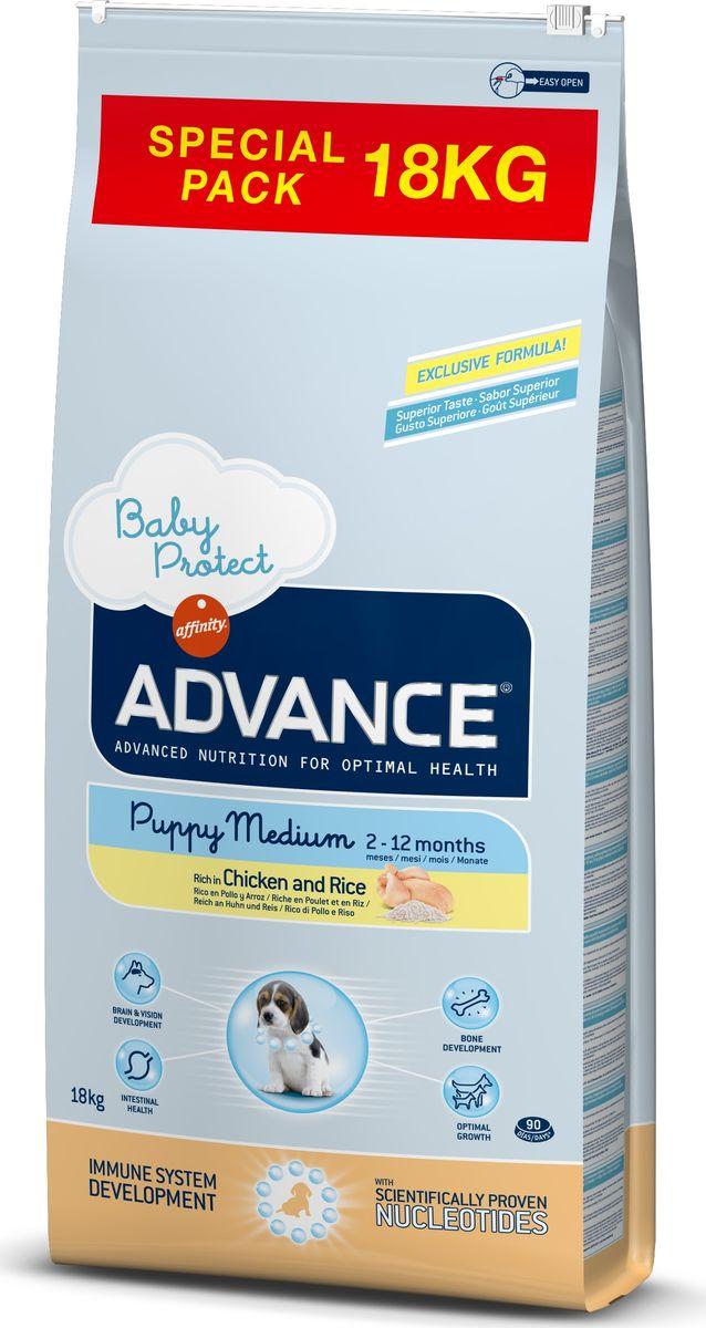 Корму сухой Advance для щенков средних пород от 2 до 12 месяцев Baby Protect Medium, 18 кг. 9221610120710Advance – высококачественный корм супер-премиум класса Испанской компании Affinity Petcare, которая занимает лидирующие места на Европейском и мировом рынках. Корм разработан с учетом всех особенностей развития и жизнедеятельности собак и кошек. В линейке кормов Advance любой хозяин может подобрать необходимое питание в соответствии с возрастом и уникальными особенностями своего животного, а также в случае назначения специалистами ветеринарной диеты. Курица (20%), рис (17%), дегидрированное мясо курицы, мука из маиса, маис, животный жир, гидролизированный белок животного происхождения, пшеница, свекольный жом, рыбий жир,яичный порошок, дрожжи, плазменный протеин, хлористый калий, соль, трикальцийфосфат, нуклеотидыAffinity Petcare имеет собственную лабораторию, а также сотрудничает со множеством международных исследовательских центров, благодаря чему специалисты постоянно совершенствуют рецептуру и полезные свойства своих кормов.В составе главным источником белка является СВЕЖЕЕ мясо, благодаря которому корм обладает высокими вкусовыми качествами, а также высокой питательной ценностью.