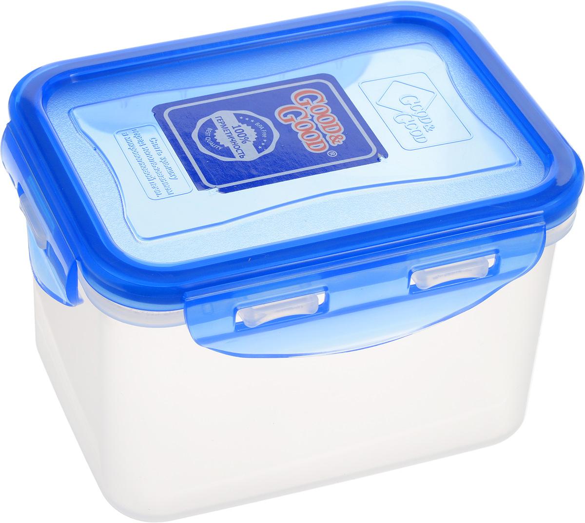 Контейнер пищевой Good&Good, цвет: синий, прозрачный, 630 мл. B/COL 02-2B/COL 02-2_синий, прозрачныйПрямоугольный контейнер Good&Good изготовлен из высококачественного полипропилена и предназначен для хранения любых пищевых продуктов. Благодаря особым технологиям изготовления, лотки в течение времени службы не меняют цвет и не пропитываются запахами. Крышка с силиконовой вставкой герметично защелкивается специальным механизмом. Контейнер Good&Good удобен для ежедневного использования в быту. Можно мыть в посудомоечной машине и использовать в микроволновой печи. Размер контейнера (с учетом крышки): 13 х 9,5 х 8,5 см.