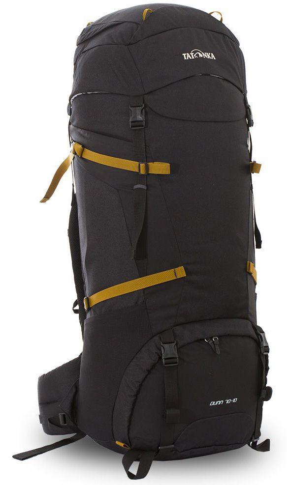 Рюкзак туристический Tatonka Dunn, цвет: черный, 80 лa026124Классический туристический рюкзак Tatonka Dunn выполнен в строгом дизайне из прочной ткани Textreme 6.6. Два просторных отделения позволит с удобством разместить все необходимые в походе или путешествии вещи. За счет объемной крышки и расширяющегося основного отделения объем рюкзака достигает 80 литров. Прочная удобная спинка рюкзака выполнена с учетом анатомических особенностей спины человека, благодаря этому с рюкзаком будет комфортно идти даже в продолжительном походе. Нижнее и основное отделения рюкзака разделены съемной перегородкой на молнии, одним движением их можно соединить между собой или снова разделить. Доступ в основное отделение осуществляется через верхний расширяющийся вход, а нижнее отделение оснащено молнией с двумя бегунками, благодаря чему можно получить доступ к конкретным нужным вещам, не открывая молнию полностью. Особенности:- Система подвески Y1.- Одно основное отделение, увеличивающееся в объеме в верхней части.- Объемная крышка рюкзака с крючком для ключей. - 4 петли на крышке. - Крышка рюкзака регулируется по высоте (до 25 см выше стандартного положения).- Затяжка внутреннего отделения на один или два шнура, в зависимости от объема заполнения. - 4 боковые затяжки позволяют регулировать объем.- Петли для крепления треккинговых палок.- Два боковых просторных кармана.- Широкий плотный набедренный пояс с двумя параметрами регулировки (по ширине и степени прилегания к рюкзаку).- Регулировка спины рюкзака позволяет отрегулировать высоту и натяжение лямок относительно спины рюкзака.- Спинка рюкзака выполнена с учетом анатомических особенностей спины человека.- Сетчатые элементы в спине и набедренном поясе обеспечивают вентиляцию в жаркую погоду.- Регулируемый по ширине и высоте нагрудный ремень.- В нагрудный ремень вшита резинка для комфорта движения.- Прочная ручка для переноски и помощи при надевании рюкзака.- Молния в нижнее отделение оснащена двумя бегунками.- Перегородка между отде