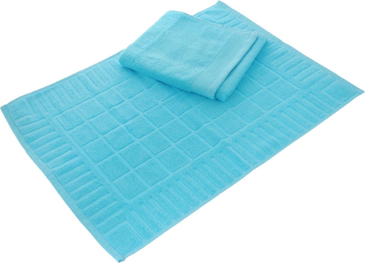 Набор Toalla: полотенце и коврик для ног, цвет: голубой531-401Набор Toalla состоит из полотенца и коврика для ног. Изделия выполнены из 100% хлопка. Ткань изделий обладает высокой плотностью и мягкостью, отличается высоким качеством и длительным сроком службы. В процессе эксплуатации материал становится только мягче и приятней на ощупь. Египетский хлопок не содержит линта (хлопковый пух), поэтому на ткани не образуются катышки даже после многократных стирок и длительного использования. Сверхдлинные волокна придают ткани характерный красивый блеск. Изделия отлично впитывают влагу и быстро сохнут. Такой набор красиво дополнит интерьер ванной комнаты и станет практичным приобретением. Коврик оформлен рельефным геометрическим рисунком. Плотность полотенца: 500 г/м2. Плотность коврика: 700 г/м2.