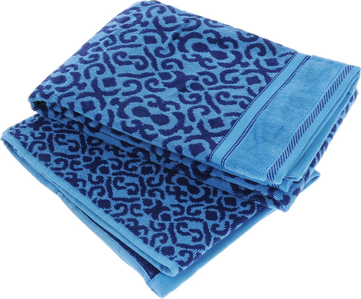 Набор махровых полотенец Toalla Флора, цвет: темно-синий, голубой, 2 шт92715441Набор Toalla Флора состоит из 2 прямоугольных махровых полотенец, выполненных из 100% хлопка. Ткань полотенец обладает высокой плотностью и мягкостью, отличается высоким качеством и длительным сроком службы. В процессе эксплуатации материал становится только мягче и приятней на ощупь. Египетский хлопок не содержит линта (хлопковый пух), поэтому на ткани не образуются катышки даже после многократных стирок и длительного использования. Сверхдлинные волокна придают ткани характерный красивый блеск. Полотенца отлично впитывают влагу и быстро сохнут. Такой набор красиво дополнит интерьер ванной комнаты и станет практичным приобретением. Полотенца оформлены изысканными узорами.