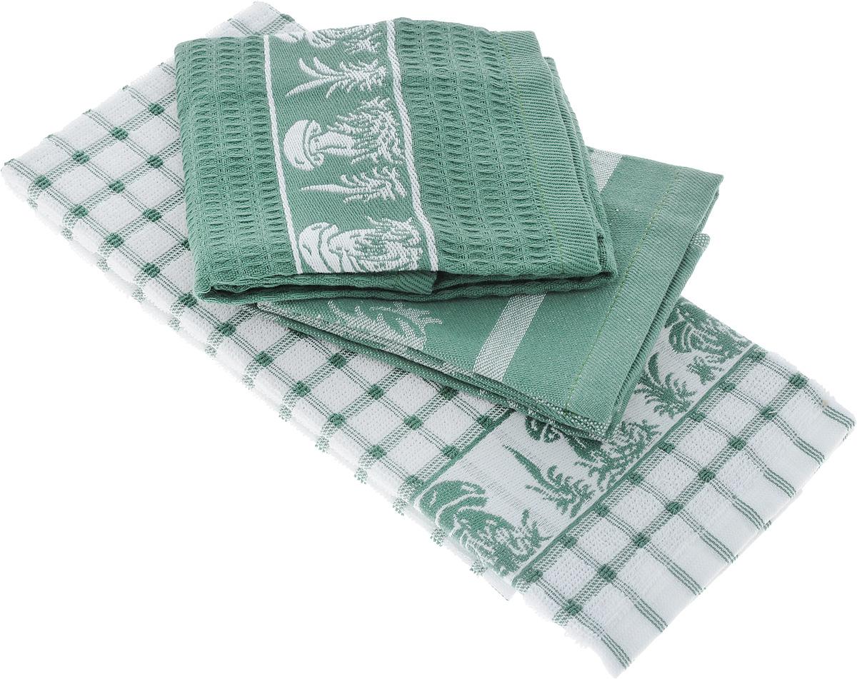 Набор кухонных полотенец Toalla Грибы, цвет: зеленый, белый, 40 x 60 см, 3 штVT-1520(SR)Набор Toalla Грибы состоит из трех прямоугольных полотенец, выполненных из 100% хлопка. Ткань полотенец обладает высокой плотностью и мягкостью, отличается высоким качеством и длительным сроком службы. В процессе эксплуатации материал становится только мягче и приятней на ощупь. Египетский хлопок не содержит линта (хлопковый пух), поэтому на ткани не образуются катышки даже после многократных стирок и длительного использования. Сверхдлинные волокна придают ткани характерный красивый блеск. Полотенца отлично впитывают влагу и быстро сохнут. Набор предназначен для использования на кухне и в столовой. Полотенца дополнены изящным вышитым бордюром.Набор полотенец Toalla Грибы - отличное приобретение для каждой хозяйки.