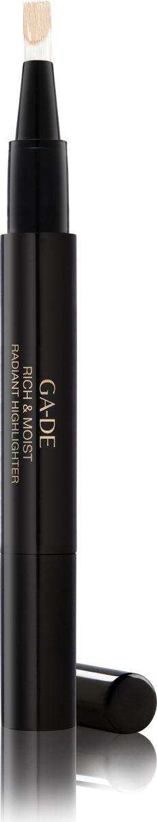 Ga-de Хайлайтер Rich&moist № 11, 2,5 мл.119300011Этот кремообразный хайлайтер со светоотражающим эффектом, созданный на основе увлажняющего комплекса и витаминов, придает Вашей коже сияние, скрывает морщины и другие недостатки кожи и позволяет подчеркнуть макияж. Одним взмахом кисточки ручка -хайлайтер освежает и осветляет кожу, придавая области вокруг глаз и другим участкам лица естественный оттенок. Хайлайтер удобен в использовании, подходит для обновления Вашего макияжа в течение дня.