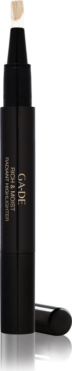 Ga-de Хайлайтер Rich&moist № 12, 2,5 мл.5010777142037Этот кремообразный хайлайтер со светоотражающим эффектом, созданный на основе увлажняющего комплекса и витаминов, придает Вашей коже сияние, скрывает морщины и другие недостатки кожи и позволяет подчеркнуть макияж. Одним взмахом кисточки ручка -хайлайтер освежает и осветляет кожу, придавая области вокруг глаз и другим участкам лица естественный оттенок. Хайлайтер удобен в использовании, подходит для обновления Вашего макияжа в течение дня.