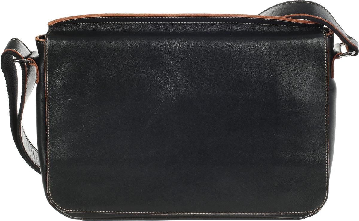 Сумка-планшет мужская Fabula Kansas, цвет: черный. S.118.TXF73298с-1Практичная мужская сумка-планшет Fabula Kansas выполнена из натуральной кожи с гладкой фактурой, оформлена металлической фурнитурой и контрастной строчкой. Сумка содержит одно отделение, которое закрывается на застежку-молнию и дополнительно клапаном на магниты. На лицевой стороне, под клапаном, расположен вместительный накладной карман на магнитной кнопке и прорезной кармашек для мелочей на застежке-молнии. Задняя сторона дополнена врезным карманом на молнии. Сумка оснащена широким плечевым ремнем, длина которого регулируется при помощи пряжки.Стильный и практичный аксессуар отлично завершит образ и подчеркнет ваш безупречный вкус.