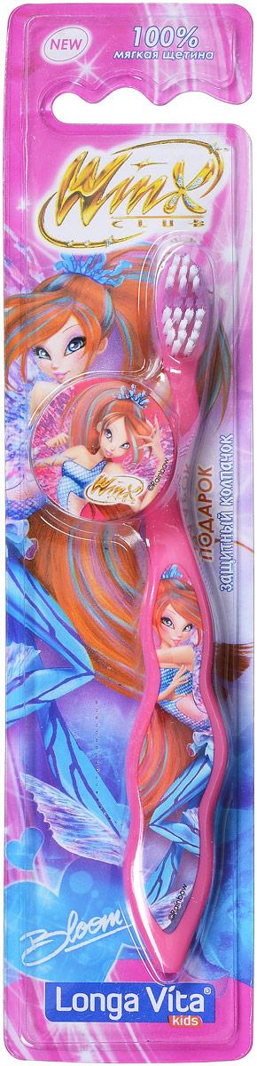Longa Vita Детская зубная щетка Winx, мягкая, цвет: розовый, с защитным колпачком, от 3-х лет4605845001470Longa Vita Детская зубная щетка Winx, мягкая, цвет: розовый, с защитным колпачком, от 3-х лет